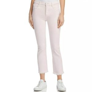 PAIGE Colette Crop Flare Raw Hem Faded Pink Jeans